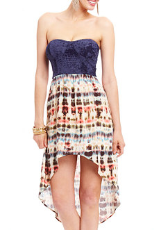 2b Strapless Sweetheart Tie Dye High Low Dress