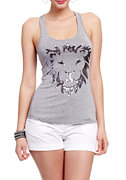 2b Lion Sequin Racerback Tank Top
