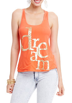 2b Dream Sequin Racerback Tank Top
