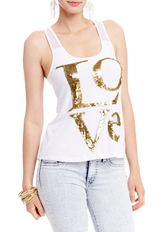 2b Love Sequin Racerback Tank Top