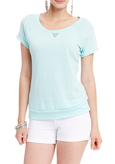 2b Roll Sleeve Solid Burnout Top