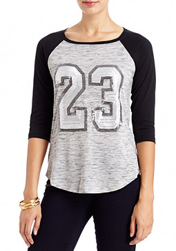 2b Sequin Number Baseball Tee