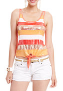 2b Colorblock Stripe Sequin Tank Top