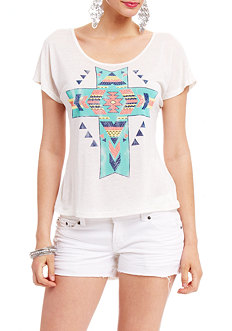 2b Tribal Cross Fleck Top