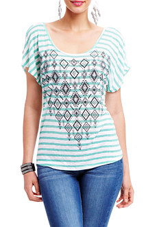 2b Tribal Stripe Deep X Back Top