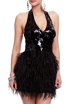 2b Isis Sequin Feather Dress