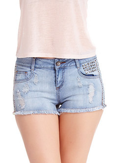 2b Stud & Embroidered Denim Short