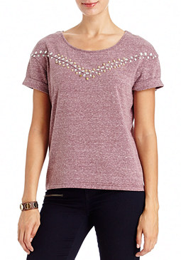 2b Glitz Stone Trim Drop Shoulder Top