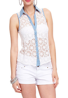 2b Lace Chambray Button Down Top