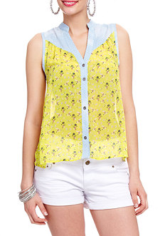 2b Denim Yoke Ditsy Print Button Down Top