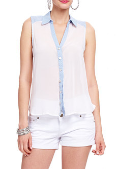 2b Sleeveless Chiffon Button Down Top