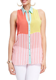2b Colorblock Stripe Button Down Top