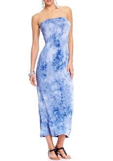 2b Strapless Printed Open Back Maxi