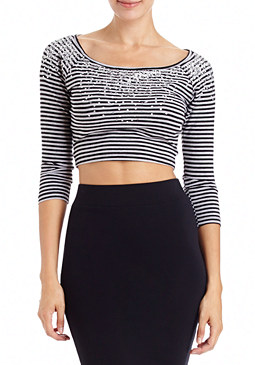 2b Sequin Neck Stripe Crop Top