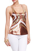 2b Deco Sequin Racer Back Tank Top