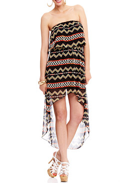 2b Tribal Printed Ruffle Maxi Dress