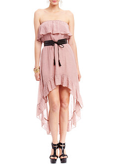 2b Strapless Ruffle Belted High Low Dress