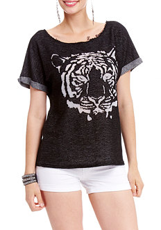 2b 2 Tone Tiger Burnout Top