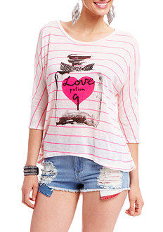 2b Love 9 Stripe Oversized Graphic Top