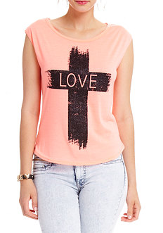 2b Love Cross Glitter Muscle Top