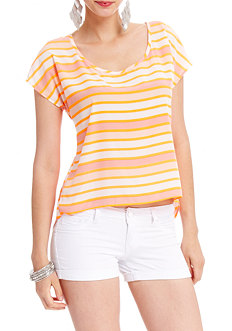 2b Short Sleeve Flyaway Back Striped Top