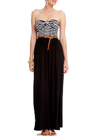 2b Lauren Strapless Striped Maxi Dress