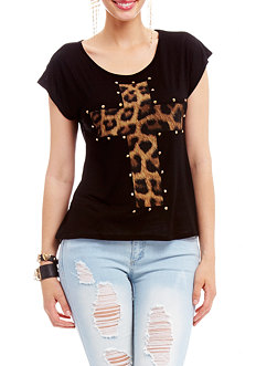 2b Leopard Cross Stud Screen Tee