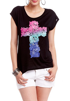 2b Floral Cross Drop Shoulder Graphic Top