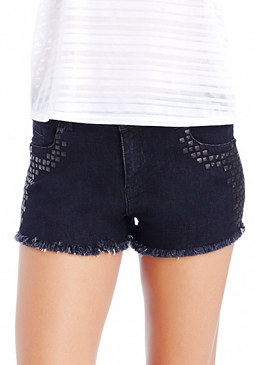 2b Stud Frayed Hem Denim Short
