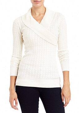 2b Cable Knit Fold Collar Sweater