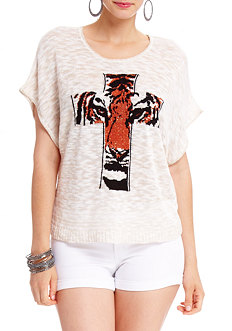 2b Tiger Cross Dolman Top