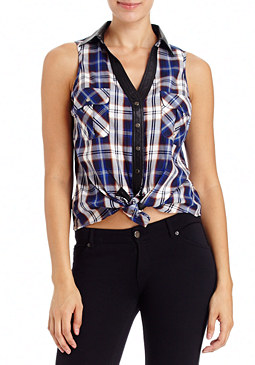 2b Plaid Lia Tie Top
