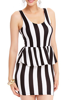 2b Vertical Stripe Peplum Dress