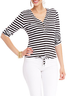 2b 3/4 Sleeve Stripe Tie Bottom Top