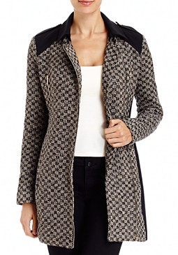 2b Colorblock Boucle Coat