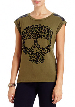 2b Leatherette Skull Top