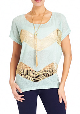 2b Zigzag Crochet Metallic Top