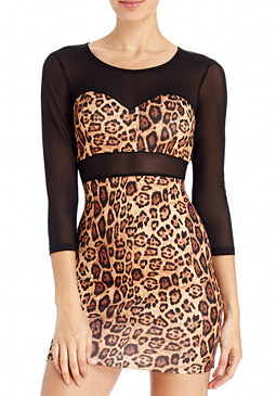 2b Leopard & Mesh Mixed Dress