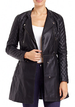 2b Quilted Leather 2-fer Coat