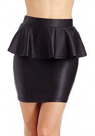 2b Coated Peplum Mini Skirt