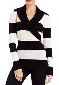 2b Stripe Fold Collar Sweater