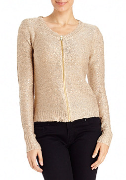 2b Sequin Zip Front Cardigan