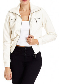 2b Leatherette Crop Jacket