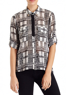 2b Plaid Button Down Blouse