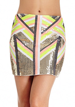 2b Tribal Sequins Mini Skirt