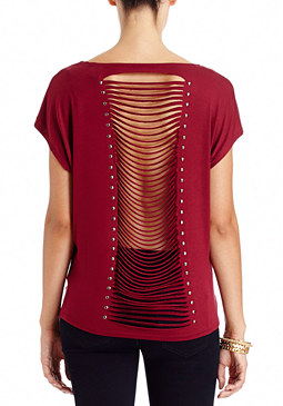 2b Fringe Stud Back Top
