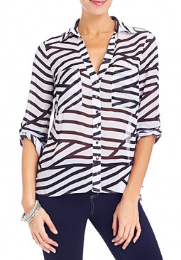 2b Spliced-Stripe Roll Shirt