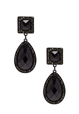 2b Jet Stone Drop Earrings