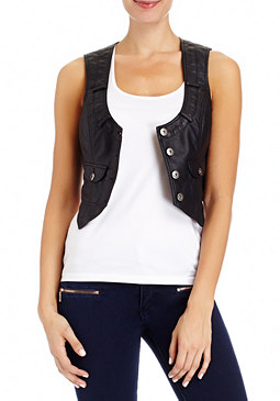 2b Cropped Collarless Vest
