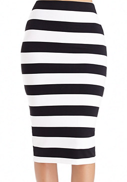 2b Striped Fold Waist Skirt